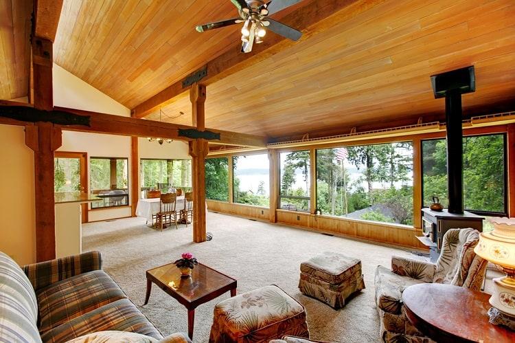 Open Floor Plan Cabin Wood Ceiling