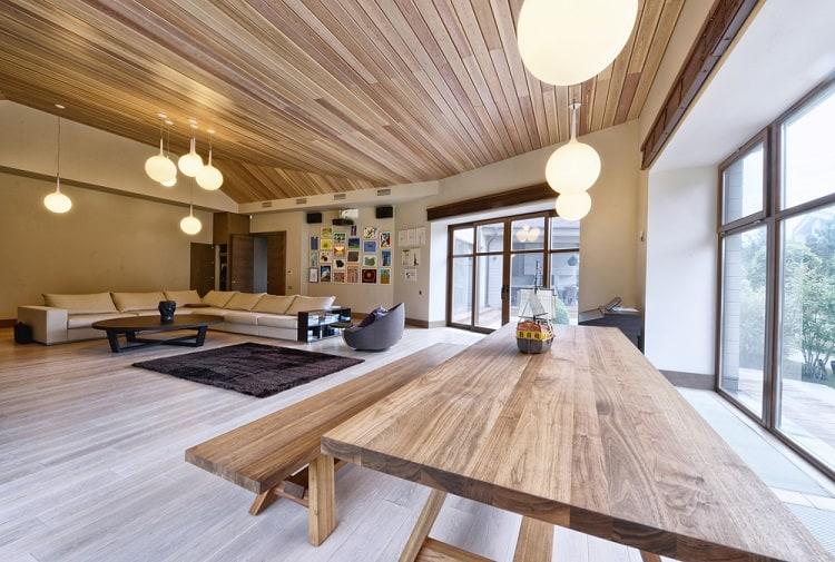 Open Floor Plan Living Room Beadboard Ceiling