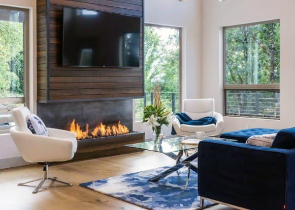 Open Gas Fireplace Wood Tv Wall Ideas