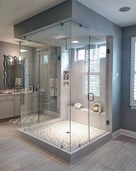 Open Glass Shower Master Bathroom Ideas