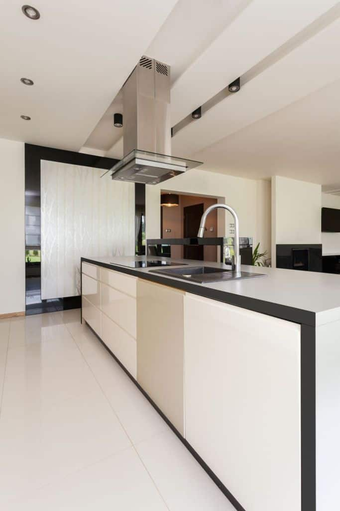 Open Layout Black And White Kitchen 1