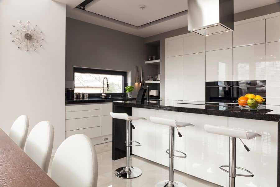Open Layout Black And White Kitchen 2