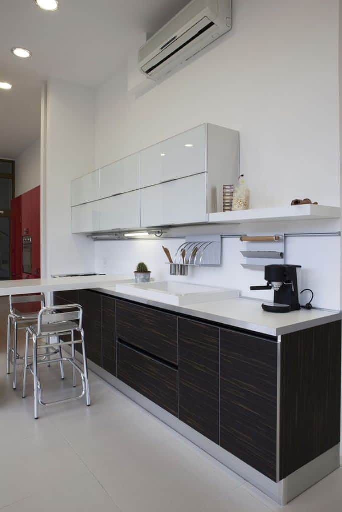 Open Layout Black And White Kitchen 3