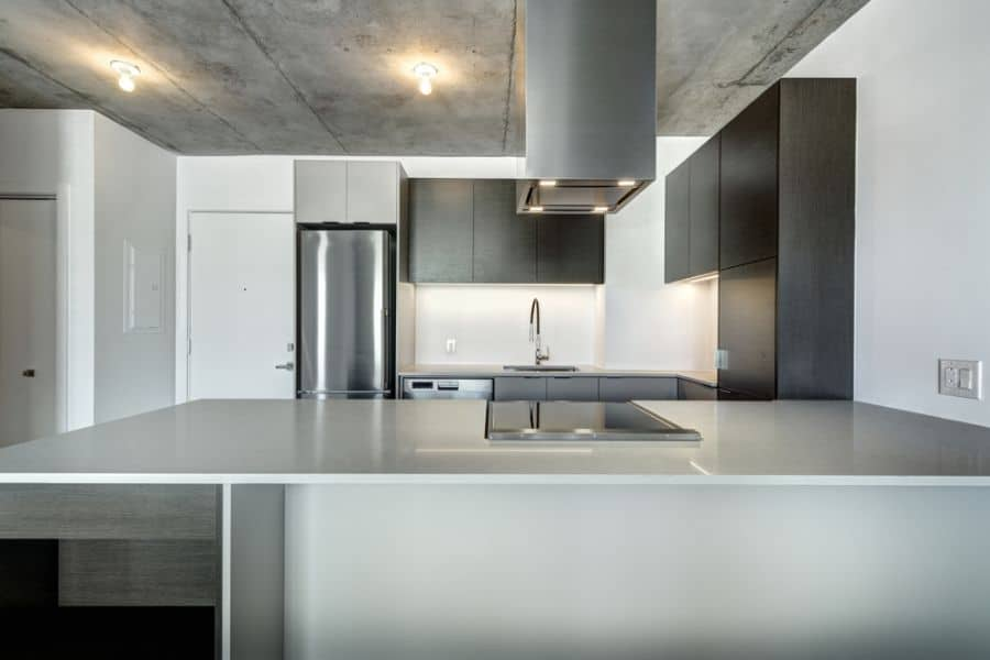 Open Layout Black And White Kitchen 4