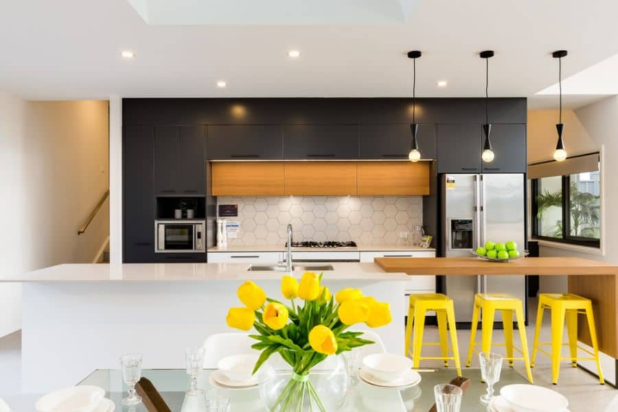 Open Layout Black And White Kitchen 6
