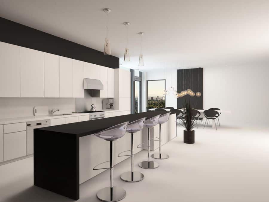Open Layout Black And White Kitchen 7