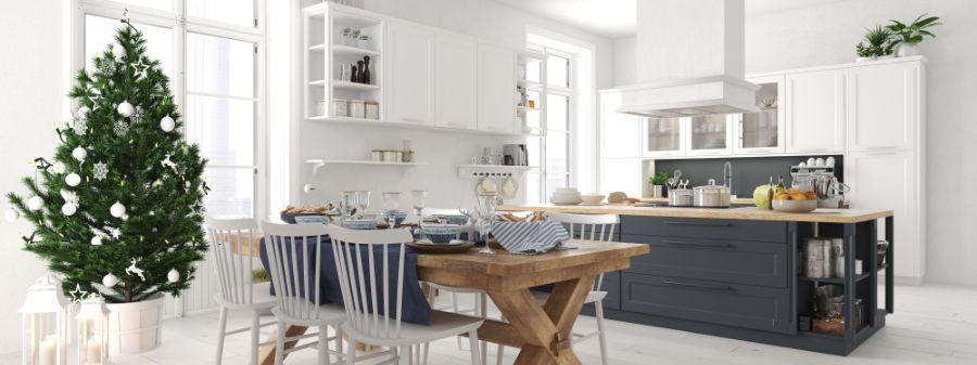 Open Layout Black And White Kitchen 9