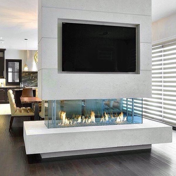 Open Modern Fireplace Design Dining Room