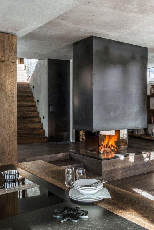Open Modern Fireplace Design