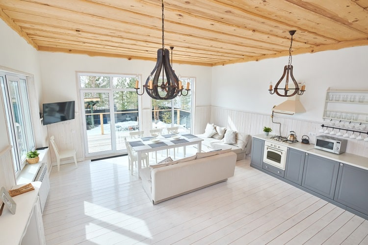Open Modern Living Room Wood Ceiling