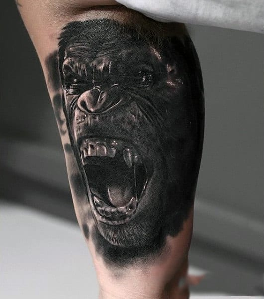 Open Mouthed Chimpanzee Realism Tattoos Guys Calves