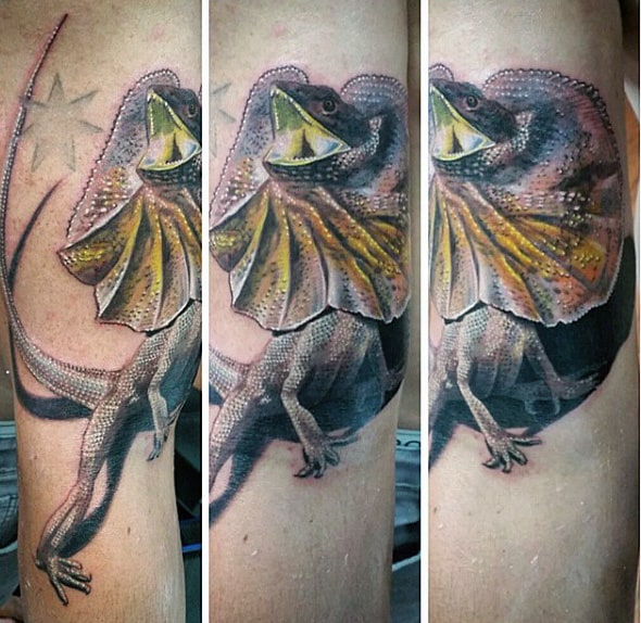 Open Mouthed Iguana Tattoo On Mens Forearms