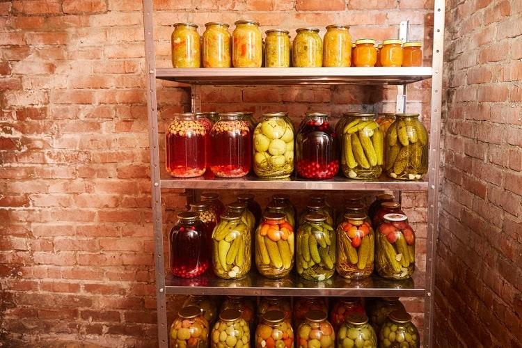 Open Racks Basement Food Storage