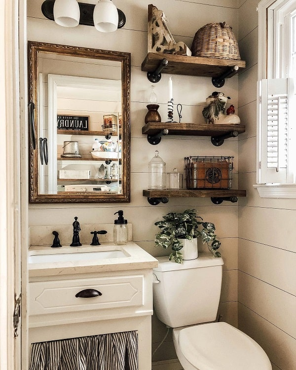 Open Shelving Rustic Farmhouse Bathroom Functionalfarmhouse