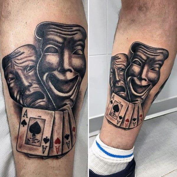 Opera Masks Playing Card Mens Leg Tattoo
