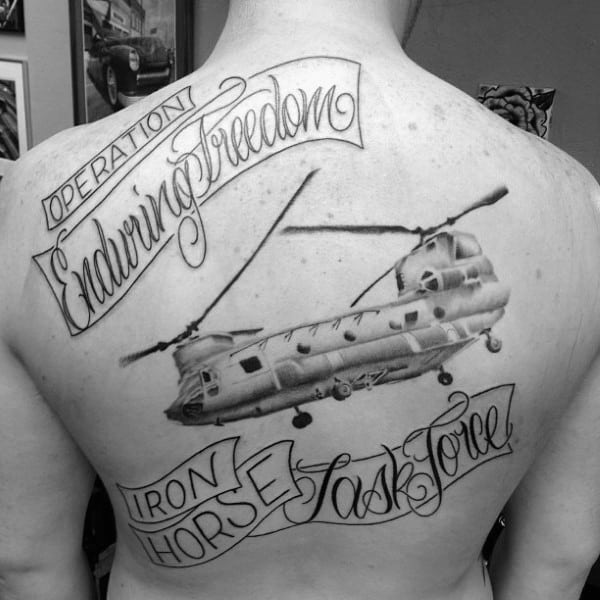 Operation Enduring Freedom Mens Army Back Tattoo With Lettering Design