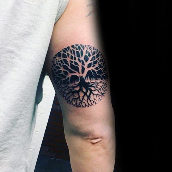 Opposite Tree Of Life Mens Ticep Tattoos