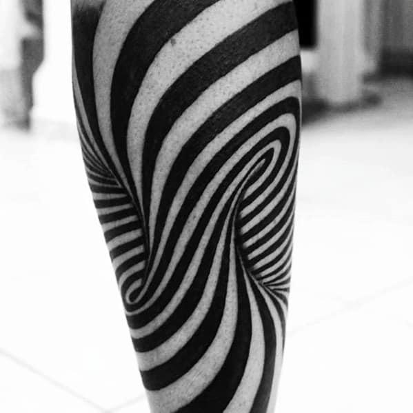 Optical Illusion Black Ink Spiral Mens 3d Tattoo On Leg