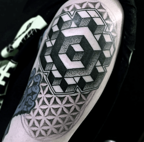Optical Illusion Cubes Blackwork Upper Arm Tattoo For Men