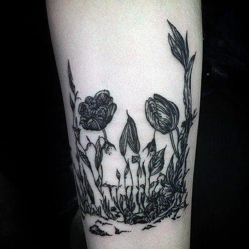 Optical Illusion Flower Life Death Skull Guys Arm Tattoos