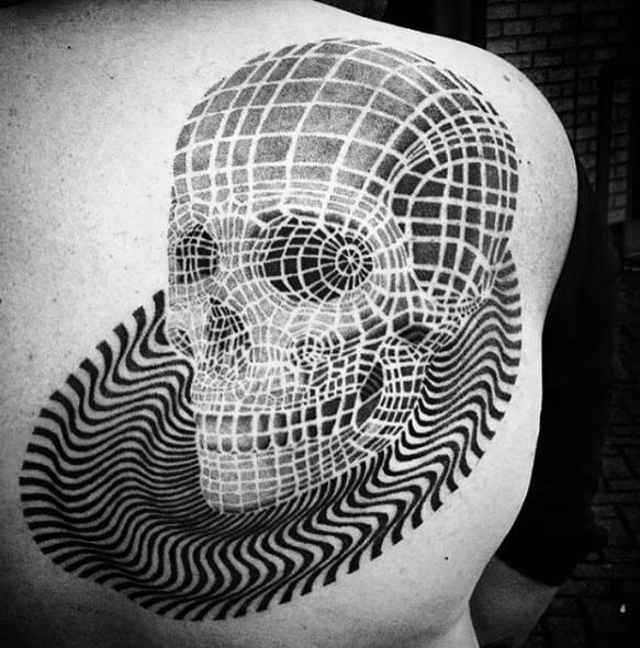 Optical Illusion Guys 3d Spiral Skull Back Tattoo Design