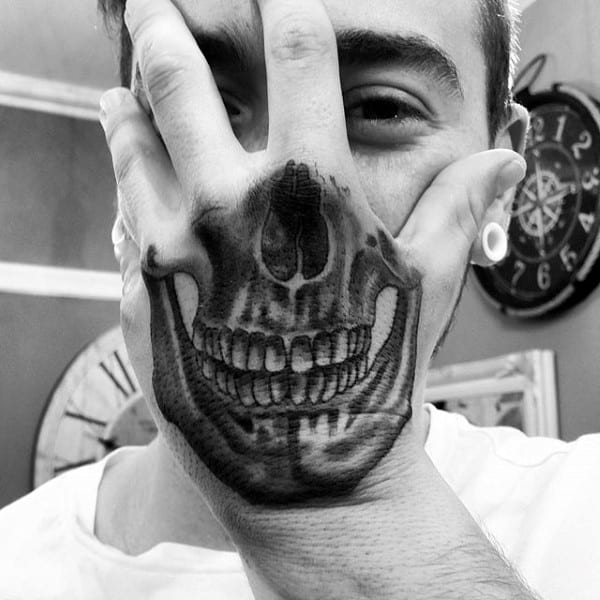 Optical Illusion Half Of Skull Mens Hand Tattoo Designs