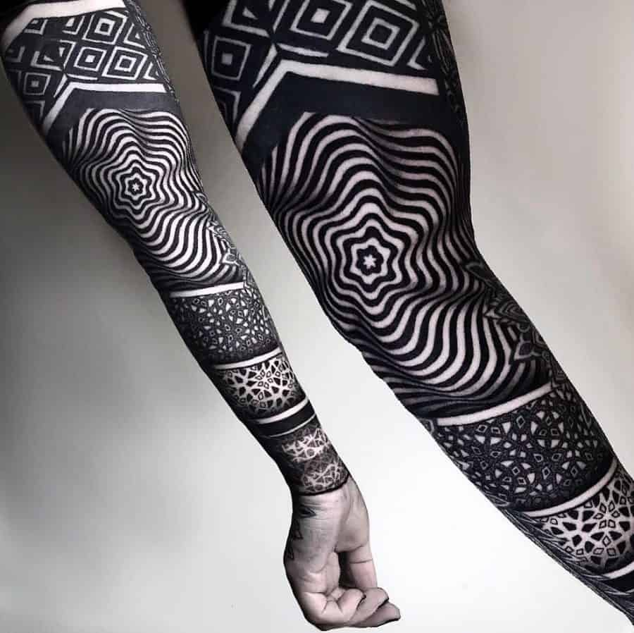 Optical Illusion Heavy Black Sworls Left Arm Sleeve Abstract Tattoo