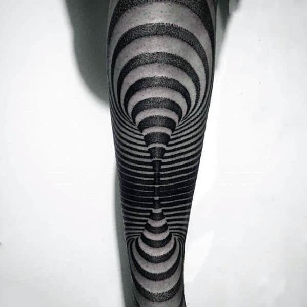 Optical Illusion Male 3d Tribl Leg Tattoos