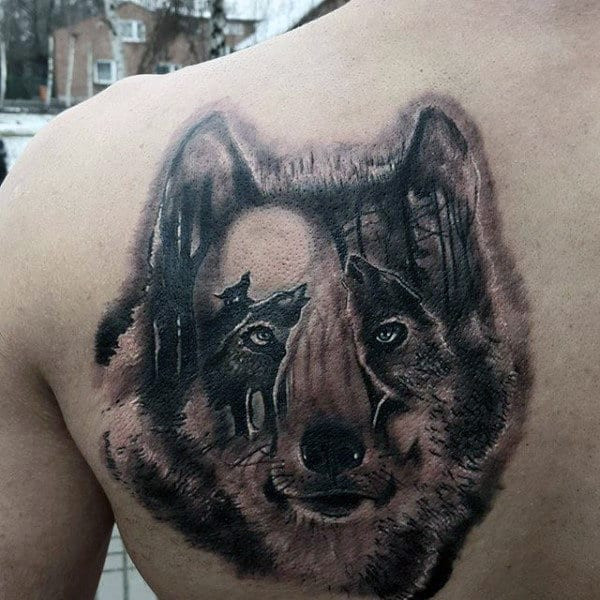 Optical Illusion Male Wolf Back Tattoo Ideas
