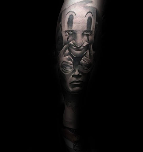 Optical Illusion Mens Clown Sleeve Tattoo Design Ideas