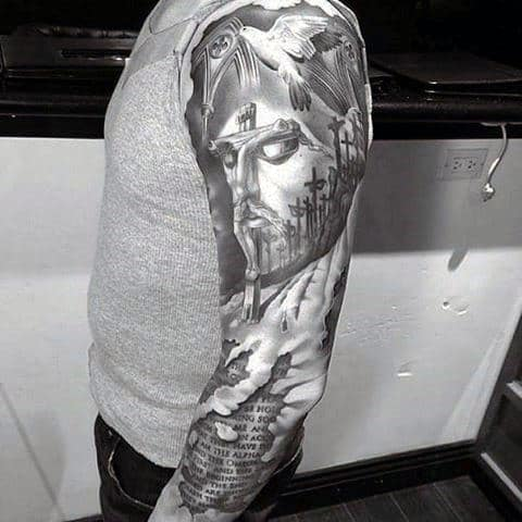 Optical Illusion Ripped Skin Guys Jesus Cross Sleeve Tattoo