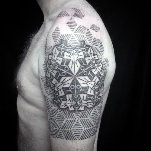 Optical Illusion Sacred Geometry Guys Tattoos