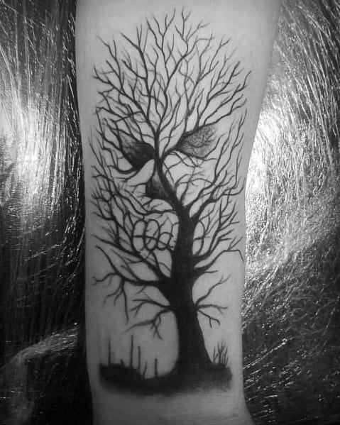 Optical Illusion Skull Cool Tree Tattoo For Males