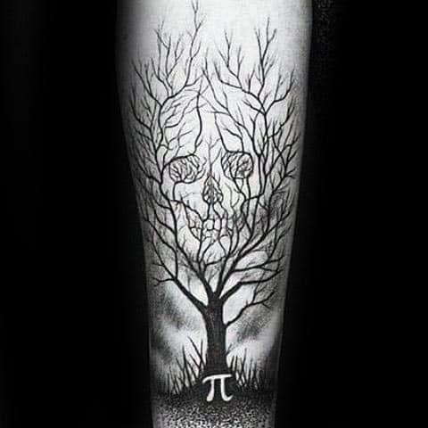 Optical Illusion Tree Of Life Mens Skull Negative Space Pie Tattoos