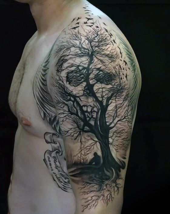 Optical Illusion Tree Skull Mens Life And Death Half Sleeve Tattoos