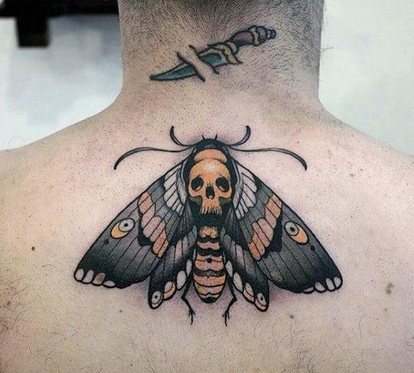Orange And Black Guys Moth Upper Back Tattoos