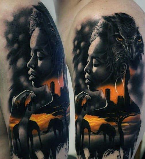 Orange And Black Ink Owl Elephants Upper Arm Male Tattoo