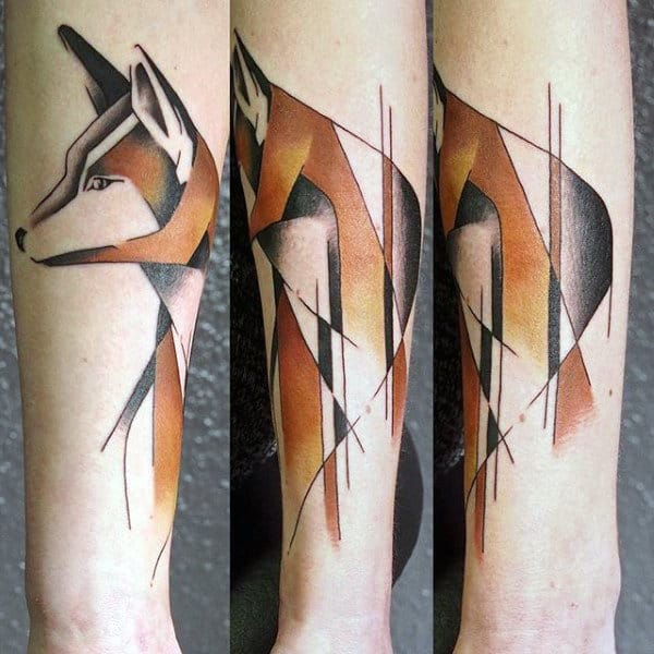 Orange And Black Sketch Of Fox Tattoo Male Forearms