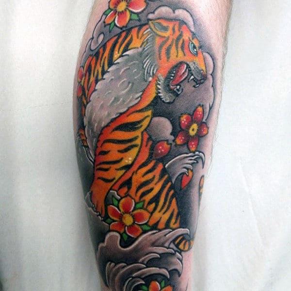 Orange And Grey Japanese Mens Tiger Leg Tattoos