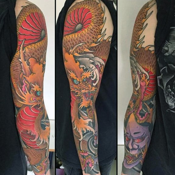 Orange And Red Guys Dragon Full Arm Sleeve Japanese Tattoos