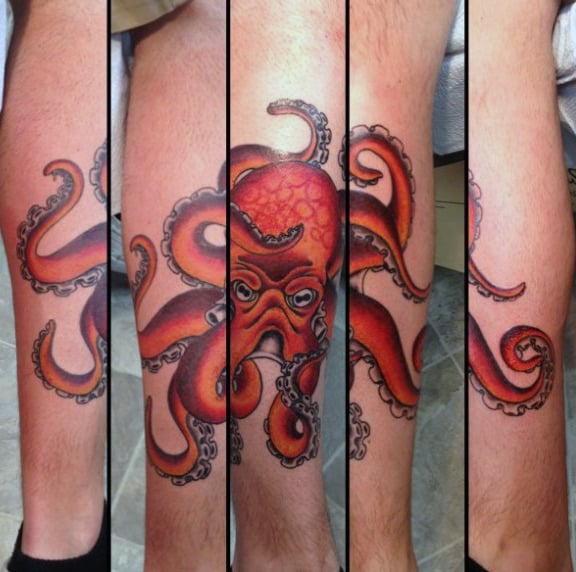 Orange And Red Traditional Octopus Male Leg Tattoos
