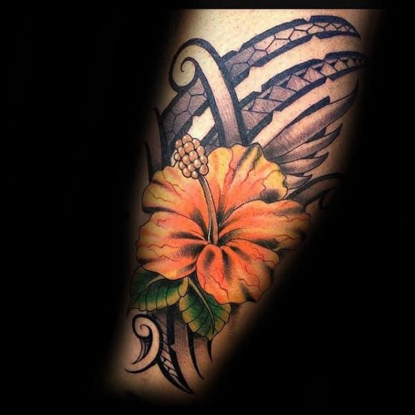 Orange And Yellow Hibiscus Flower Mens Tribal Tattoos