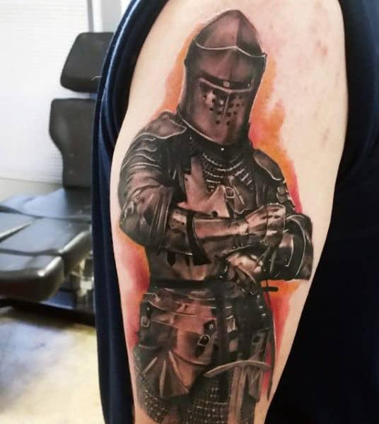 Orange Arm Angel Knight Tattoo For Men