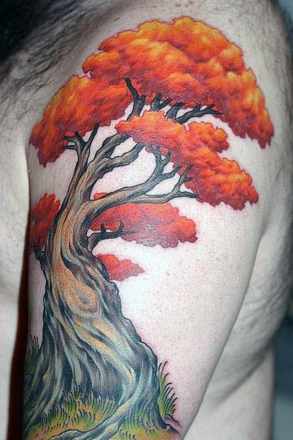 Orange Bonsai Tree Mens Upper Arm Tattoos