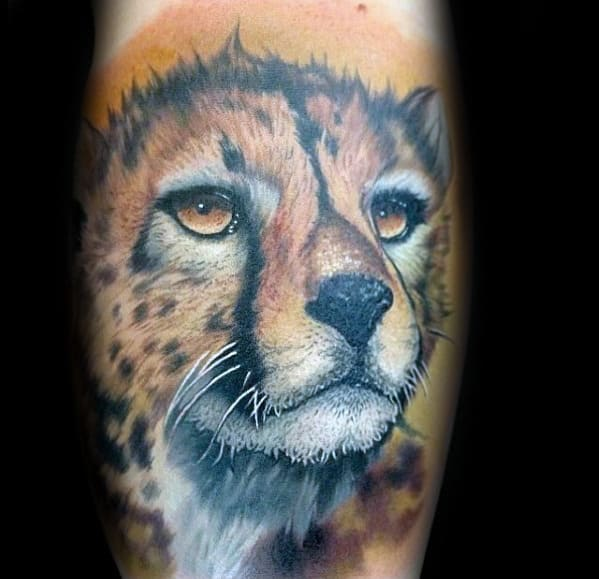 Orange Cheetah Head Mens Arm Tatoos