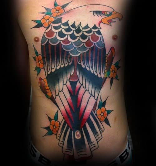 Orange Flower Traditional Eagle Mens Full Chest Tattoos