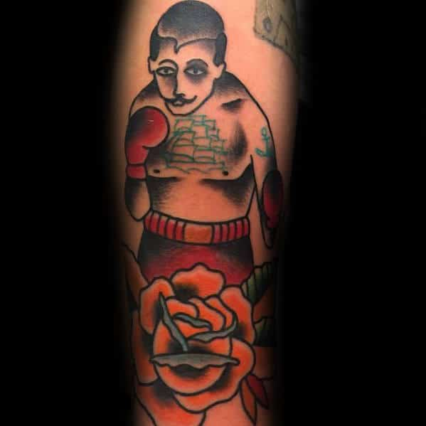Orange Flower With Boxer Traditional Forearm Tattoos For Males