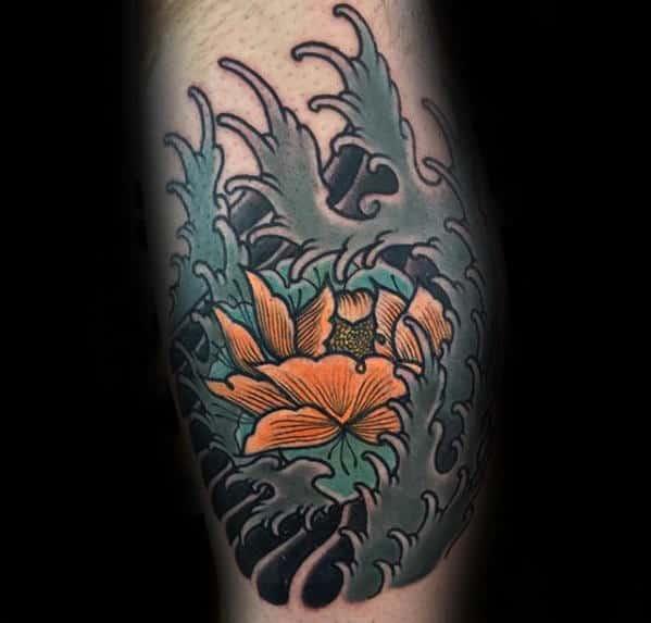 Orange Flower With Japanese Waves Mens Leg Calf Tattoos