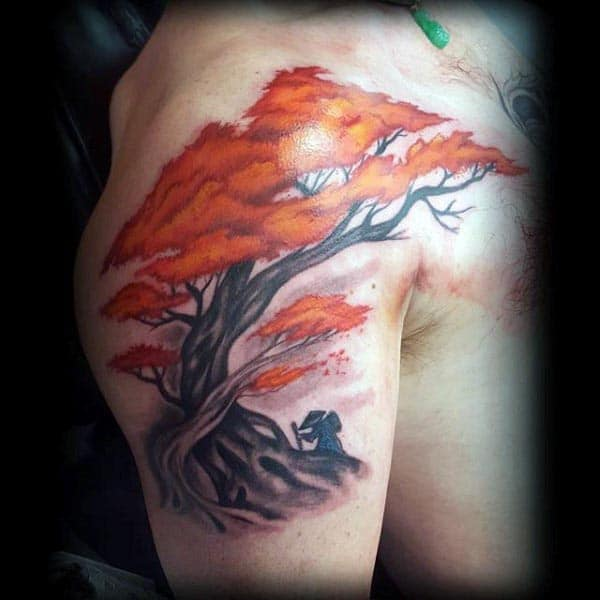 Orange Flowering Bonsai Tree Male Upper Arm Tattoos