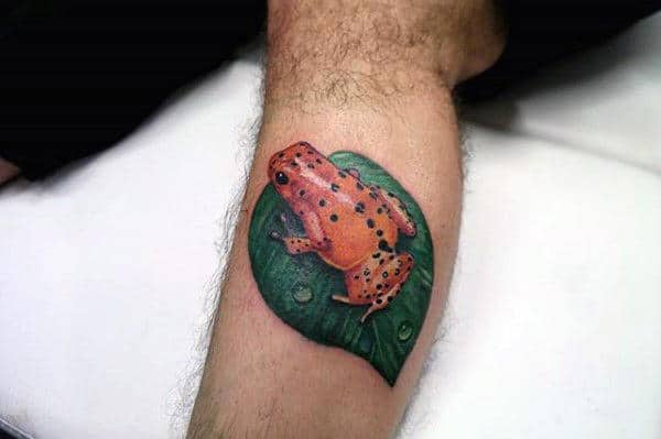 Orange Frog On Leaf Male Leg Realistic Tattoos